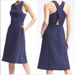 Banana Republic Navy Cross Back Ponte Midi Dress